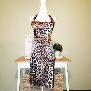 Cache | Leopard Print Stretch Dress Size 6